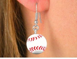 <BR>W5079E - FUN NEW! BASEBALL<bR> EARRINGS FROM $3.35 TO $7.50