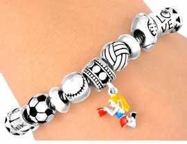 "W5089B - ""CHEERLEADER"" & SPORTS<BR>     LOBSTER CLASP BRACELET FROM<bR>                          $5.63 TO $12.5"
