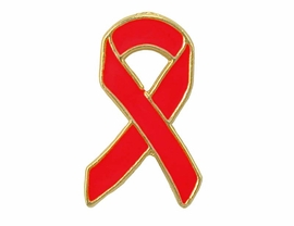 <Br>W5195P - GOLD TONE TRIM RED<bR> AWARENESS RIBBON TACK PIN<bR>                  AS LOW AS $.95