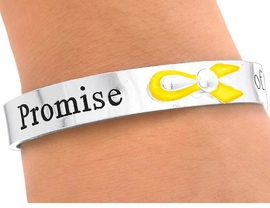 "<bR>     W5245B - ""PROMISE OF A CURE""<BR>YELLOW AWARENESS CUFF BRACELET<BR>                   FROM $3.35 TO $7.50"