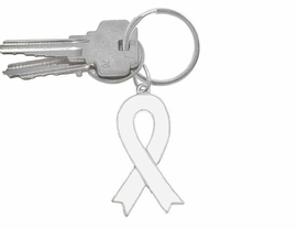 W5288KC - WHITE AWARENESS RIBBON<BR>     KEY CHAIN©2005 AS LOW AS $2.65<BR>  EXCLUSIVELY OURS! WE ARE THE ONLY<bR>    MANUFACTURER OF THIS KEYCHAIN!