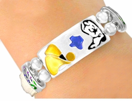 "<br>             W5357B - PEARL WHITE<Br>         ""LONE STAR STATE"" TEXAS<br>LEATHER BAND STRETCH BRACELET<Br>               FROM $3.04 TO $6.25"