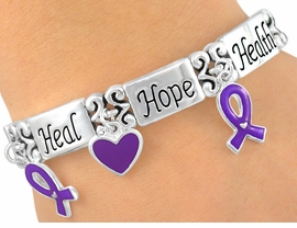 "<br>W5424B - ""HEALTH, HOPE, HEAL""<br>  PURPLE AWARENESS BRACELET<br>             FROM $3.94 TO $8.75"