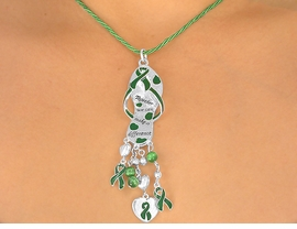"<br>W5465NE - ""TOGETHER WE CAN...""<BR>KELLY GREEN AWARENESS RIBBON<BR>          NECKLACE & EARRING SET<br>                     AS LOW AS $3.45"