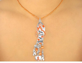 "<br>W5467NE - ""TOGETHER WE CAN...""<BR>      ORANGE AWARENESS RIBBON<Br>          NECKLACE & EARRING SET<BR>                    AS LOW AS $3.45"