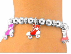<BR>    W5471B - ROLLERSKATE MULTI<Br>COLOR STRETCH CHARM BRACELET<br>             FROM $5.06 TO $11.25