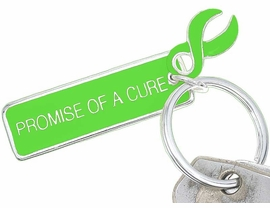 "<Br>    W5482KC - ""PROMISE OF A CURE""<BR>     LIME GREEN AWARENESS RIBBON<Br>    KEYCHAIN©2005 AS LOW AS $2.50<br>EXCLUSIVELY OURS! WE ARE THE ONLY<bR>  MANUFACTURER OF THIS KEY CHAIN!"