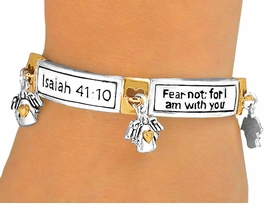 "<br>W5505B - INSPIRATIONAL NEW!<Br>     ""ISAIAH 41:10"" SCRIPTURE<BR>TWO-TONE STRETCH BRACELET<BR>       YOUR LOW PRICE IS $5.63"