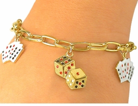 W5580B - GOLD TONE CARDS &<br>DICE TOGGLE CHARM BRACELET<bR>           FROM $3.35 TO $7.50