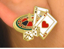 W5581E - GOLD FINISH TRIM GAMBLING<br>    PIERCED EARRINGS AS LOW AS $3.05