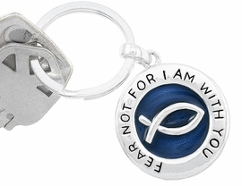 "W5703KC - ""FEAR NOT FOR I AM WITH YOU""<br>  CHRISTIAN FISH ON A NAVY BACKGROUND<br>        YOUR LOW KEY CHAIN PRICE IS $3.10"