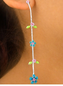 W5744EA - 3-COLOR HANDPAINTED<Br>   FLOWER CHAIN VINE & AUSTRIAN<Br>   CRYSTAL EARRING ASSORTMENT<br>                     AS LOW AS $3.05