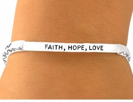 "W5821B - NEW! ""FAITH, HOPE, LOVE""<Br>  IN SPANISH, FRENCH, AND ENGLISH<Br>                   STRETCH BRACELET<BR>           YOUR LOW PRICE IS $3.38"