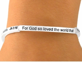 "W5822B - RELIGIOUS ""JOHN 3:16""<BR>   SCRIPTURE STRETCH BRACELET<Br>         YOUR LOW PRICE IS $3.35"