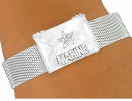 W5890B -MARINE LOVE MESSAGE ENVELOPE<Br>          MAGNETIC CLASP MESH BRACELET<Br>                         FROM $6.75 TO $15.00