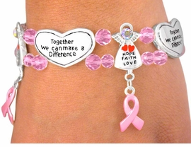 "<bR>W6299B - ""HOPE, FAITH, LOVE""<bR>ANGEL & INSPIRATIONAL HEART<Br>   BREAST CANCER AWARENESS<Br>       STRETCH BRACELET FROM<BR>                  $6.19 TO $13.75"