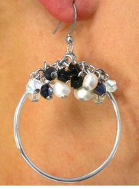 <BR>         W6641E - SILVER TONE HOOP &<BR>ROUND FAUX PEARL, AURORA BOREALIS<Br>& ONYX BLACK BEADED FISHHOOK WIRE<Br>             EARRINGS AS LOW AS $4.80