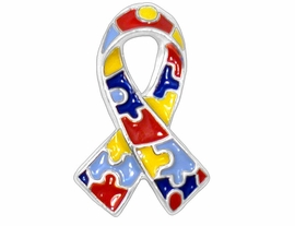 """W6789P - AUTISM AWARENESS<Br>    SILVER TONE TRIM TACK PIN<Br>     """"LEAD FREE, NICKEL FREE""""<BR>           FROM $1.69 TO $4.50<BR>                              ©2004"""