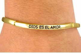 "<BR>     W6846B - POLISHED GOLD FINISH<BR>  ""GOD IS LOVE"" IN THREE LANGUAGES<Br>STRETCH BRACELET FROM $3.38 TO $7.50"