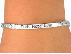 "<Br>      W6897B - ""FAITH, HOPE, LOVE""<bR>           SILVER TONE TILE STRETCH<Br>YOUR LOW BRACELET PRICE IS $3.10"