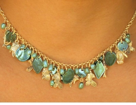 """<bR>   W7050NE - NACREOUS EMERALD GREEN<br>GENUINE SHELL DIAMOND & DISCS DROPS<Br>       WITH """"FLOATING FISH"""" NECKLACE &<Br>            EARRING SET AS LOW AS $12.25"""