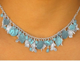 "<bR>        W7052NE - NACREOUS TEAL-BLUE<br>GENUINE SHELL DIAMOND & DISCS DROPS<Br>       WITH ""FLOATING FISH"" NECKLACE &<Br>            EARRING SET AS LOW AS $12.25"