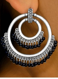 <bR> W7127EA - ANTIQUE SILVER TONE<Br>  DOUBLE-RING BLACK OR WHITE<Br>  PIERCED EARRING ASSORTMENT<Br>                   AS LOW AS $7.75