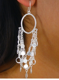 W8094EA - 2-STYLE SILVER TONE<Br> TRIPLE-CHAIN & MINI DISC DROP<Br>           EARRING ASSORTMENT<Br>                 AS LOW AS $6.95