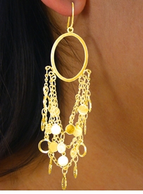 W8283EA - 2-STYLE GOLD FINISH<Br> TRIPLE-CHAIN & MINI DISC DROP<Br>           EARRING ASSORTMENT<Br>                 AS LOW AS $6.95