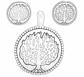 "W8297PE - SILVER TONE ""TREE OF LIFE""<Br>DISC PENDANT & CLIP-ON EARRING SET<Br>                       AS LOW AS $3.45"
