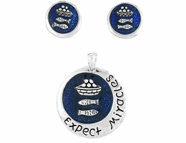 "W8326PE - ""EXPECT MIRACLES""<Br>CHRISTIAN PENDANT & EARRING<br>        SET FROM $4.68"