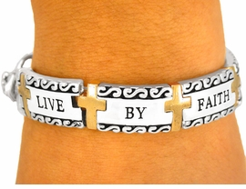 "<bR> W8353B - RELIGIOUS ""LIVE BY FAITH""<br>SCRIPTURE TILE TWO-TONE BRACELET<Br>              YOUR LOW PRICE IS $10.13"