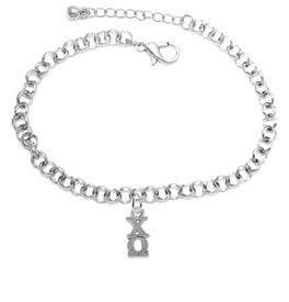 <bR>      WHOLESALE FASHION SORORITY JEWELRY  <BR>                     EXCLUSIVELY OURS!!  <BR>                AN ALLAN ROBIN DESIGN!!   <BR>               HYPOALLERGENIC - SAFE !!  <BR>          LEAD, NICKEL & CADMIUM FREE!!   <BR> W849B2 - OFFICIAL SILVER TONE GREEK <BR>    CHI OMEGA SORORITY CHARM ON CHAIN <Br> LINK BRACELET FROM $5.90 TO $9.25 �2015