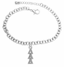 <bR>      WHOLESALE FASHION SORORITY JEWELRY  <BR>                     EXCLUSIVELY OURS!!  <BR>                AN ALLAN ROBIN DESIGN!!   <BR>               HYPOALLERGENIC - SAFE !!  <BR>          LEAD, NICKEL & CADMIUM FREE!!   <BR> W851B2 - OFFICIAL SILVER TONE GREEK <BR>DELTA DELTA DELTA SORORITY CHARM ON CHAIN <Br> LINK BRACELET FROM $5.90 TO $9.25 �2015