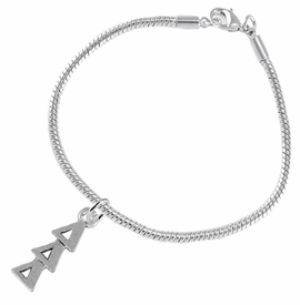 <bR>      WHOLESALE FASHION SORORITY JEWELRY  <BR>                     EXCLUSIVELY OURS!!  <BR>                AN ALLAN ROBIN DESIGN!!   <BR>               HYPOALLERGENIC - SAFE !!  <BR>          LEAD, NICKEL & CADMIUM FREE!!   <BR> W851B7 - OFFICIAL SILVER TONE GREEK <BR>DELTA DELTA DELTA SORORITY CHARM ON SNAKE <Br> CHAIN BRACELET FROM $5.90 TO $9.25 �2015