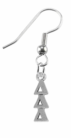 <bR>      WHOLESALE FASHION SORORITY JEWELRY  <BR>                     EXCLUSIVELY OURS!!  <BR>                AN ALLAN ROBIN DESIGN!!   <BR>               HYPOALLERGENIC - SAFE !!  <BR>          LEAD, NICKEL & CADMIUM FREE!!   <BR> W851E1 - OFFICIAL SILVER TONE GREEK <BR>DELTA DELTA DELTA SORORITY CHARM ON STEEL <Br> FISH HOOK EARRINGS FROM $5.90 TO $9.25 �2015