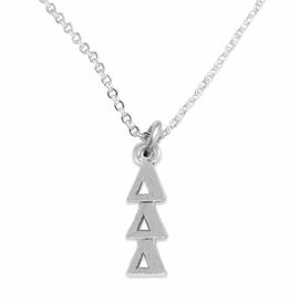 <bR>      WHOLESALE FASHION SORORITY JEWELRY  <BR>                     EXCLUSIVELY OURS!!  <BR>                AN ALLAN ROBIN DESIGN!!   <BR>               HYPOALLERGENIC - SAFE !!  <BR>          LEAD, NICKEL & CADMIUM FREE!!   <BR> W851N1 - OFFICIAL SILVER TONE GREEK <BR>DELTA DELTA DELTA SORORITY CHARM ON LOBSTER <Br> CLASP NECKLACE FROM $5.90 TO $9.25 �2015