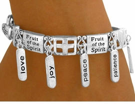 "<bR>  W8536B - POLISHED SILVER FINISH<Br>   ""FRUIT OF THE SPIRIT"" TAG CHARM<br>STRETCH BRACELET YOUR LOW PRICE $8.44"
