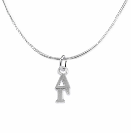 <bR>      WHOLESALE FASHION SORORITY JEWELRY  <BR>                     EXCLUSIVELY OURS!!  <BR>                AN ALLAN ROBIN DESIGN!!   <BR>               HYPOALLERGENIC - SAFE !!  <BR>          LEAD, NICKEL & CADMIUM FREE!!   <BR> W853N2 - OFFICIAL SILVER TONE GREEK <BR>  DELTA GAMMA SORORITY CHARM ON SNAKE <Br> CHAIN NECKLACE FROM $5.90 TO $9.25 �2015