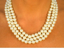 <Br>     W8585N - CREAM COLOR TRIPLE-<Br>STRAND 8MM FAUX PEARL NECKLACE<BR>                FROM $13.00 TO $24.00