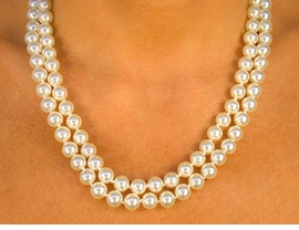 <Br>   W8586N - CREAM COLOR DOUBLE-<Br>STRAND 8MM FAUX PEARL NECKLACE<Br>                  FROM $8.13 TO $15.00