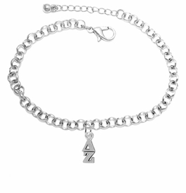 <BR> WHOLESALE FASHION SORORITY JEWELRY <BR> EXCLUSIVELY OURS!! <BR> AN ALLAN ROBIN DESIGN!! <BR>               HYPOALLERGENIC - SAFE !!     <BR>          LEAD, NICKEL & CADMIUM FREE!!    <BR>    W859B2 - OFFICIAL SILVER TONE GREEK  <BR>   DELTA ZETA SORORITY CHARM ON LOBSTER <Br> CLASP BRACELET FROM $5.90 TO $9.25 �2015