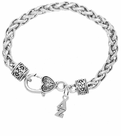 <bR>      WHOLESALE FASHION SORORITY JEWELRY  <BR>                     EXCLUSIVELY OURS!!  <BR>                AN ALLAN ROBIN DESIGN!!   <BR>               HYPOALLERGENIC - SAFE !!  <BR>          LEAD, NICKEL & CADMIUM FREE!!   <BR> W859B1 - OFFICIAL SILVER TONE GREEK <BR> DELTA ZETA SORORITY CHARM ON HEART<Br> CLASP BRACELET FROM $5.90 TO $9.25 �2015