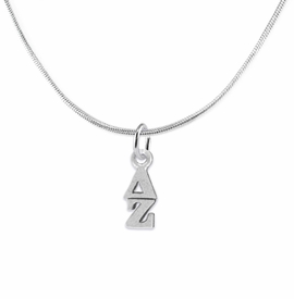 <bR>      WHOLESALE FASHION SORORITY JEWELRY  <BR>                     EXCLUSIVELY OURS!!  <BR>                AN ALLAN ROBIN DESIGN!!   <BR>               HYPOALLERGENIC - SAFE !!  <BR>          LEAD, NICKEL & CADMIUM FREE!!   <BR> W859N2 - OFFICIAL SILVER TONE GREEK <BR> DELTA ZETA SORORITY CHARM ON SNAKE <Br> CHAIN NECKLACE FROM $5.90 TO $9.25 �2015
