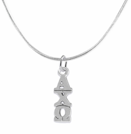 <bR>      WHOLESALE FASHION SORORITY JEWELRY  <BR>                     EXCLUSIVELY OURS!!  <BR>                AN ALLAN ROBIN DESIGN!!   <BR>               HYPOALLERGENIC - SAFE !!   <BR>          LEAD, NICKEL & CADMIUM FREE!!    <BR>   W863SN2 - OFFICIAL SILVER TONE GREEK  <BR> ALPHA CHI OMEGA SORORITY CHARM ON SNAKE  <Br> CHAIN NECKLACE FROM $5.90 TO $9.25 �2015