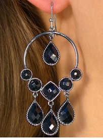 <bR>      W8648EA - 2-STYLE BLACK OXIDE<Br>     MULTI FACETED BLACK FAUX STONE<Br>EARRING ASSORTMENT AS LOW AS $4.80
