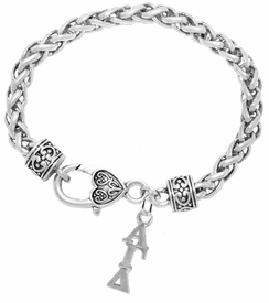 <bR>      WHOLESALE FASHION SORORITY JEWELRY  <BR>                     EXCLUSIVELY OURS!!  <BR>                AN ALLAN ROBIN DESIGN!!   <BR>               HYPOALLERGENIC - SAFE !!  <BR>          LEAD, NICKEL & CADMIUM FREE!!   <BR> W869SB1 - OFFICIAL SILVER TONE GREEK <BR> ALPHA GAMMA DELTA SORORITY CHARM ON HEART <Br> CLASP BRACELET FROM $5.90 TO $9.25 �2015