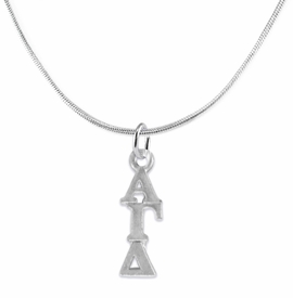 <bR>      WHOLESALE FASHION SORORITY JEWELRY  <BR>                     EXCLUSIVELY OURS!!  <BR>                AN ALLAN ROBIN DESIGN!!   <BR>               HYPOALLERGENIC - SAFE !!  <BR>          LEAD, NICKEL & CADMIUM FREE!!   <BR> W869SN2 - OFFICIAL SILVER TONE GREEK <BR> ALPHA GAMMA DELTA SORORITY CHARM ON SNAKE <Br> CHAIN NECKLACE FROM $5.90 TO $9.25 �2015