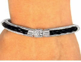 <br>     W8736B - DESIGNER INSPIRED<Br>    FLORAL SILVER TONE SPACER &<Br>LEATHER-LIKE BLACK WOVEN TILE<Br>          STRETCH BRACELET FROM<BR>                       $3.35 TO $7.50