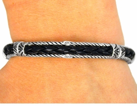<br>    W8738B - DESIGNER INSPIRED<Br>WOVEN BLACK LEATHER-LIKE TILE<Br>         STRETCH BRACELET FROM<Br>                      $3.35 TO $7.50